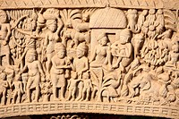 Close_up of north gateway of stupa 1 Inner view , Sanchi near Bhopal , Madhya Pradesh , India
