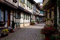 Engelgasse lane with half-timbered houses, Gegenbach, Kinzigtal Valley, Black Forest, Baden-Wuerttemberg, Germany, Europe