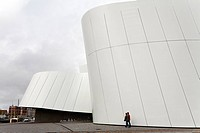 Futuristic new Ozeaneum museum building, German Oceanographic Museum, Stralsund, Baltic Sea, Mecklenburg-Western Pomerania, Germany, Europe