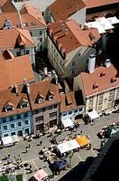 Latvia, Riga, street scene, aerial view.