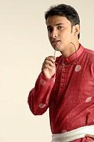 South Asian Indian man in traditional dress kurta and chudidar MR 705_O