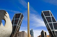 Calatrava Obelisk and KIO Towers, Castilla Square, Comunidad de Madrid, Spain, Europe