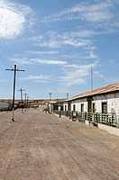 Housing for workers, buildings, road, Humberstone, salpetre works, abandoned salpetre town, ghost town, desert, museum, UNESCO World Heritage Site, Iq...