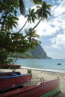 Caribbean, St. Lucia, Soufriere, fishing village, fishing boats, beach, view on Pitons, mountain peaks