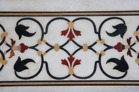 Marble inlay work of interlocking designs on wall of Taj Mahal Seventh Wonders of World , Agra , Uttar Pradesh , India UNESCO World Heritage Site