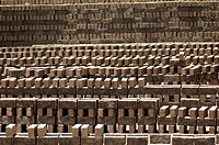 Bricks stacked at a kiln in Rajkot , Gujarat , India