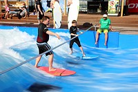 The Wave, artificial surf wave, Alpin Center Bottrop, Ruhrgebiet region, North Rhine-Westphalia, Germany, Europe