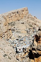 Rock crevice with view on the Christian village Maalula, Syria, Middle East, Asia