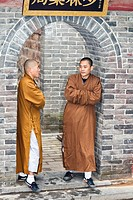 Buddhist monks, Shaolin Temple, birthplace of Kung Fu, Song Shan, near Zhengzhou, Henan Province, Dengfeng, China