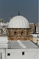 The dome of the big mosque in the Old Town or Medina of the capital of Tunis in the Norder of Tunisia in North Africa at the Mediterranean Sea.
