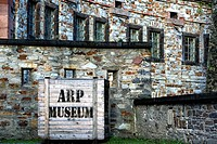 Sign for the Arp Museum, Ehrenbreitstein Fortress in Koblenz, Rhineland_Palatinate, Germany, Europe