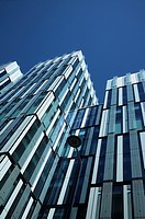 Low angle view of modern architecture in Manchester UK