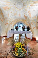 Thanksgiving bowl in front of the altar of the parish church of St. Peter am Moos, frescoes ca. 1250, near Muthmannsdorf, Lower Austria, Austria, Euro...
