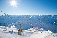 Cabin of Nebelhornbahn Cable Car, Mt Nebelhorn, Allgaeu Alps, panorama, winter, snow, snow-capped peaks, Oberstdorf, Allgaeu, Bavaria, Germany, Europe