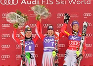 Marlies sign, AUT, wins slalom competition ahead of of Kathrin Zettel, AUT, and Maria Riesch, GER