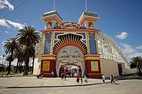 Entrance to the Luna Park amusement park in St. Kilda, Melbourne, Victoria, Australia