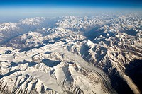 Aerial view of snow covered Himalayan mountains , Ladakh , Jammu and Kashmir , India