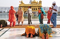 People pray for the God in Golden Temple complex, Punjab Amritsar India