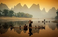The scenery of Xingping with the Li River with Yangshuo to the landmark near the city of Guillin in the Povinz Guangxi in sueden from China.