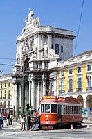 Commerce square in Lisbon, Portugal, with the typical trams and famous Triumphal Arch