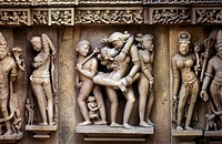 The Hindu temple arrangement of Khajuraho in the province of Madhya Pradesh in Centrally India in India.