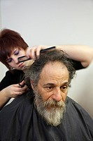 Mount Clemens, Michigan - A homeless man gets a haircut, one of a number of services provided to the homeless at the Macomb Community Center  Haircuts...