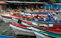 The fishing harbour of Choroni in the Caribbean in Venezuela in South America.