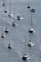 Sailing boats, pleasure craft traffic on Kiel Canal, Schleswig_Holstein, Germany, Europe