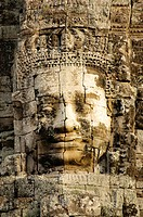 Stone face in the Bayon, Angkor Thom complex, Siem Reap, Cambodia, Southeast Asia