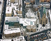 Aerial view, snow, Karl-Ernst-Osthaus Museum, Hagen, North Rhine-Westphalia, Germany, Europe