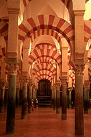 Columns and arches in the mosque, Cordoba, Andalusia, Spain