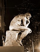 Original Auguste Rodin sculpture, 'The Thinker', on display in calle Triana, Las Palmas, Gran Canaria, Canary Islands, Spain in December 2010