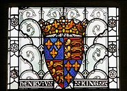 Stained glass window depicting coat of arms of King Henry V in The Great Hall, Winchester, Hampshire, England, United Kingdom