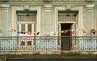 Clothesline with 26 stuffed animals in Centro Habana, Havana, Cuba, Caribbean