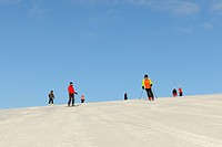 Skiers on Mt Feldberg, Black Forest, Baden-Wuerttemberg, Germany, Europe