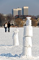 Ice creation on the frozen Aussenalster lake in Hamburg, Germany, Europe