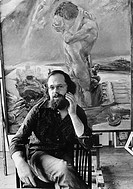 The Leipzig painter Sighard Gille in his studio, East Germany, Europe, circa 1978