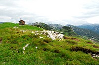 Alpine hut in the nature preservation area, landscape at the Loser Berg mountain, Altaussee, Bad Aussee, Ausseerland, Totes Gebirge, Salzkammergut, St...