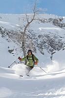 Skier in deep snow