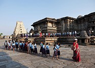 Group of pupils in Chennakesava Temple, Keshava Temple, Hoysala style, Belur, Karnataka, South India, India, South Asia, Asia