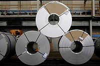 Rolls of metal for the chassis production, golf car production, VW plant in Wolfsburg, Lower Saxony, Germany, Europe