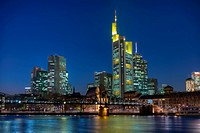Skyline in the evening light, banks, Commerzbank, river Main, Frankfurt, Hesse, Germany, Europe