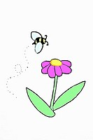 A drawing of a bee about to land on a pink flower