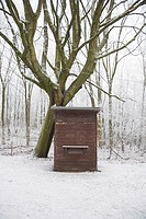closed kiosk in winter forest