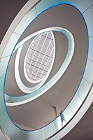 low angle view into staircase of office building