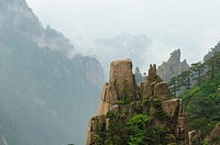view into gorge at Huangshan Mountains in Anhui province of China
