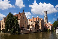 Typical canal in the medieval town of Brugge, listed World Heritage Site by UNESCO  Flanders  Belgium