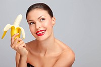 Woman with a banana.