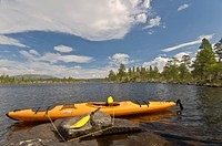 Kayak on a lake in the Rogen nature preserve, Haerjedalen, Sweden, Scandinavia, Europe