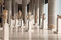 Interior of the new Acropolis Museum, designed by architect Bernard Tschumi, Athens, Greece